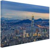 Avond skyline Seoul Canvas 180x120 cm - Foto print op Canvas schilderij (Wanddecoratie woonkamer / slaapkamer) / Steden Canvas Schilderijen XXL / Groot formaat!