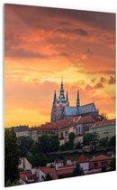 Zonsondergang in Praag Glas 20x30 cm - Foto print op Glas (Plexiglas wanddecoratie)