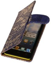 Lace Bookstyle Hoes voor Sony Xperia E3 D2203 Blauw