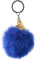 Kamparo Sleutelhanger Fluffy Pompom Donkerblauw 8 Cm