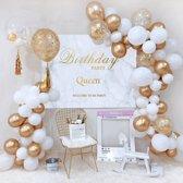 Luxe Ballonnen Boog Goud Wit - 122 Stuks – Confetti HeliumBallonnen – Bruiloft Wedding Verjaardag Party Decoratie Thema Feest Ballonnenboog