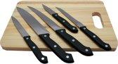 Messenset 5-delig met houten snijplank - officemes - vleesmes - trancheermes - schilmes - koksmes - snijplank - fileermes