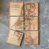 Onderzetter Benelux. Set van 6 stuks. 10 x 10 cm.