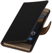 Huawei P8 Lite Effen Booktype Wallet Hoesje Zwart