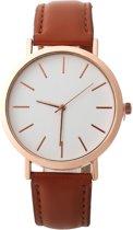 Fako® - Horloge - Rosé Goudkleurig - Ø 41mm - Bruin