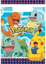 16x Pokemon themafeest uitdeelzakjes/snoepzakjes 16 x 23 cm - Feestzakjes - Kinderfeestje feestartikelen