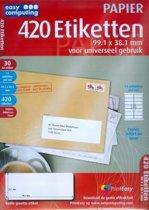 Easy Computing Easy Computing PAPIER: 420 Etiketten - 99.1 x 38.1 mm voor universeel gebruik