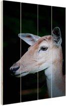 Hert close-up Hout 40x60 cm - Foto print op Hout (Wanddecoratie)