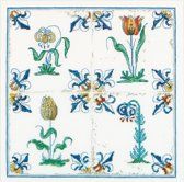 Thea Gouverneur Borduurpakket 485 Delft blauwe tegels bloemen - Linnen stof