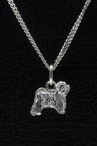 Zilveren Tibetaanse terrier ketting hanger - klein