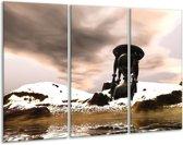 Glasschilderij Abstract   Zwart, Wit, Bruin   120x80cm 3Luik   Foto print op Glas    F003211