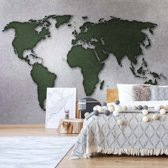 Fotobehang Modern World Map Silver | VEL - 152.5cm x 104cm | 130gr/m2 Vlies