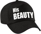 His Beauty pet / cap zwart met witte letters voor dames - verkleedpet / feestpet