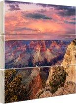 Zonsondergang Grand Canyon Hout 80x60 cm - Foto print op Hout (Wanddecoratie)