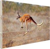 Een springende kangoeroe Hout 80x60 cm - Foto print op Hout (Wanddecoratie)