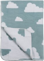 Meyco Little Clouds wiegdeken - 75 x 100 cm - stone green