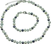 Zoetwater parel set Grey Black and White Pearl