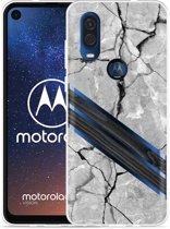 Motorola One Vision Hoesje Marble Wood