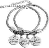 BFF  bedel armbandjes half hart vriendschap liefde best friends ( twee stuks )