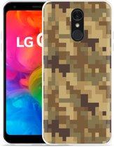 LG Q7 Hoesje Pixel Camouflage Brown
