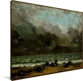 De zee - Schilderij van Gustave Courbet Canvas 40x30 cm - klein - Foto print op Canvas schilderij (Wanddecoratie woonkamer / slaapkamer)