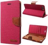 Canvas Diary Iphone Hoesje - Iphone 7Plus/8Plus - Rood - Goospery