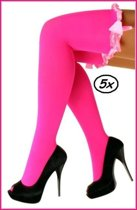 5x Britney kousen met strik fluor pink