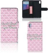 Xiaomi Redmi 7A Portemonnee hoesje Flowers Pink DTMP