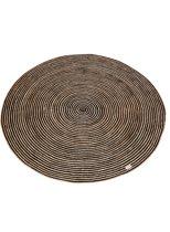 Yoshiko - Hanoi L - rond tapijt 150 cm - naturel/zwart - jute/katoen