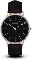 FAEMD Soleil Series - Horloge - Dames - Classic Zilver/Zwart - Leer - Zwart - Ø 37 mm