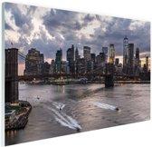 Manhattan en de Brooklyn bridge New York Glas 90x60 cm - Foto print op Glas (Plexiglas wanddecoratie)