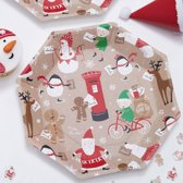Papieren wegwerp borden - Santa & Friends (8 stuks)