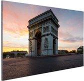 Arc de Triomphe bij zonsopkomst Aluminium 30x20 cm - klein - Foto print op Aluminium (metaal wanddecoratie)