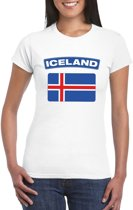 T-shirt met IJslandse vlag wit dames XS