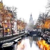 De Spiegelgracht, gracht in Amsterdam, Nederland in olieverf look | stad, abstract, modern, sfeer | Foto schilderij print op Canvas (canvas wanddecoratie) | KIES JE MAAT