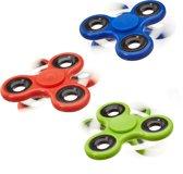 relaxdays 3 x Fidget Spinner - tri-spinner 58g - hand spinner antistress rood blauw groen