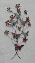 Metalen wanddecoratie vlinders en bloemen - 57 x 105 cm