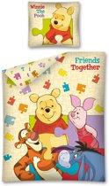 Winnie the Pooh Puzzel éénpersoons dekbedovertrek 140 x 200 cm