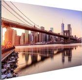 Manhattan vanuit Brooklyn bridge park Aluminium 30x20 cm - klein - Foto print op Aluminium (metaal wanddecoratie)