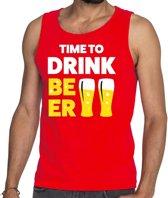 Time to drink Beer tekst tanktop / mouwloos shirt rood heren - heren singlet Time to drink Beer M