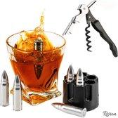 Whiskey Stones – Gratis Gift - RVS Whiskey Bullets – Metalen Whiskey Stenen – Premium Set (6 stuks) – Kurkentrekker – Wijn Opener – Kelners Mes – Flesopener