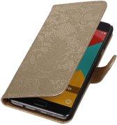 Goud bloem bookcase voor de Samsung Galaxy A5 (2016) wallet hoesje