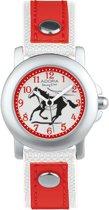 Mooi rood en wit horloge met leren bandje -AY4363