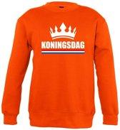 Oranje Koningsdag met kroon sweater kinderen - Oranje Koningsdag kleding 7-8 jaar (122/128)