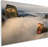 De Meteora kloosters in een wolkengordijn Plexiglas 90x60 cm - Foto print op Glas (Plexiglas wanddecoratie)