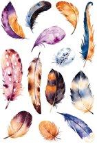 13x Veren thema stickers met aquarel print - decoratie stickers - stickervellen - knutselspullen