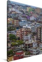 Kleurrijke huizen in Dhaka Canvas 20x30 cm - klein - Foto print op Canvas schilderij (Wanddecoratie woonkamer / slaapkamer) / Aziatische steden Canvas Schilderijen