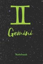 Gemini Zodiac Sign Notebook: Astrology Journal, Horoscope Notepad, Notes, 120 Pages, blanc lined, 6'' x 9'' diary