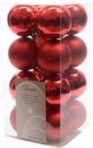 Kerst kerstballen rood mix 4 cm Elegant Christmas 16 stuks