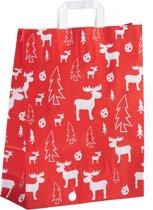 """100 papieren Kersttassen / Kerst draagtassen / Kersttasjes 22x10x28m """"red elk"""""""